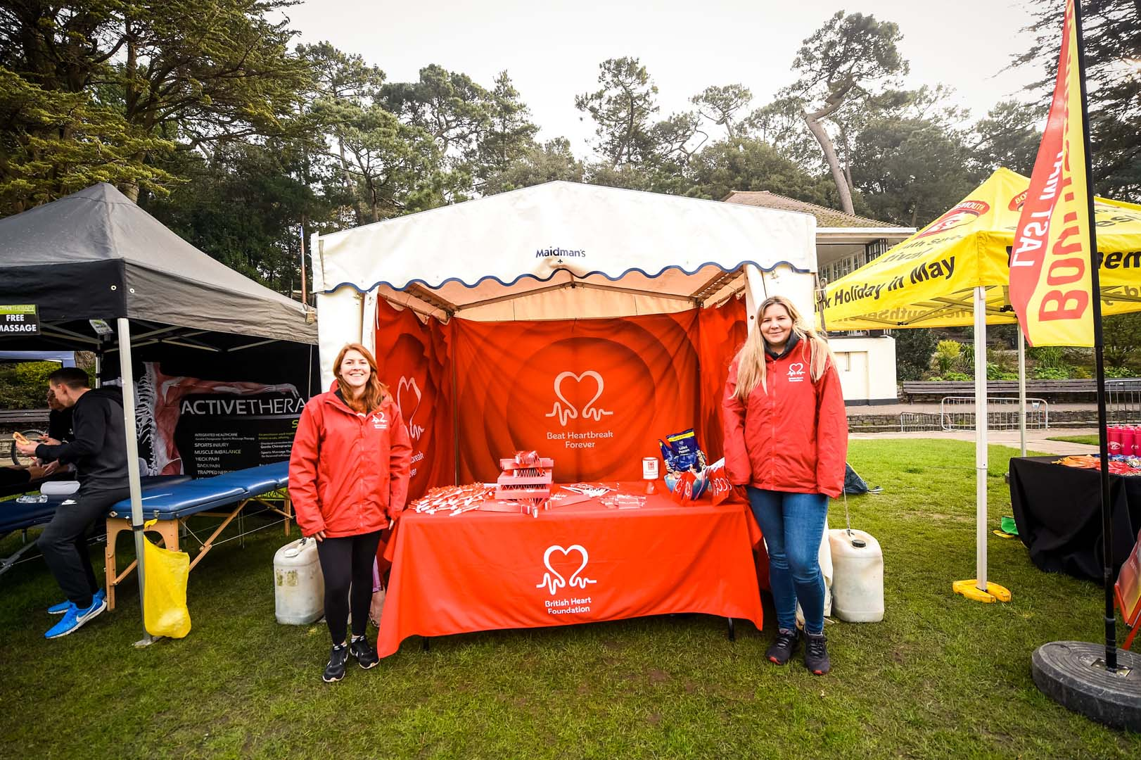 British heart foundation team with their stand at the Bournemouth bay run